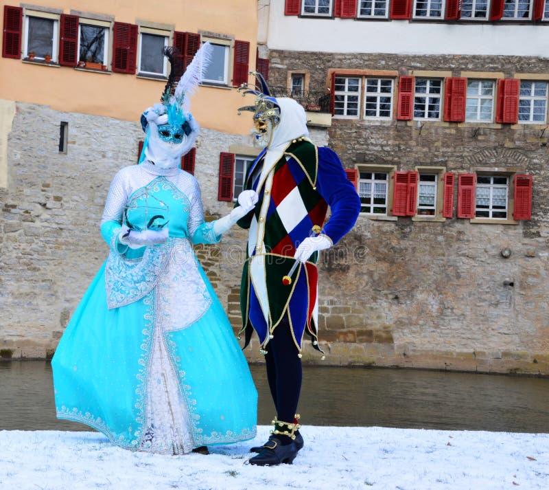 Costumi, pagliaccio e principessa di epoca immagini stock