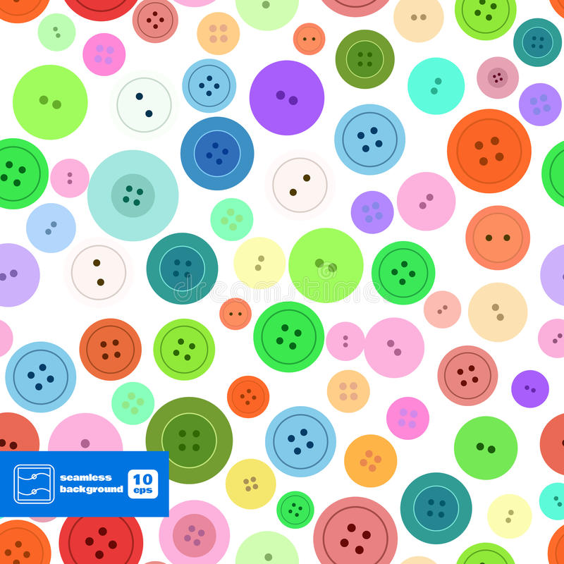 A costura colorida abotoa o teste padrão sem emenda Vetor ilustração stock