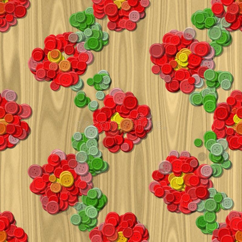 A costura da flor do coração abotoa o fundo gerado sem emenda ilustração do vetor