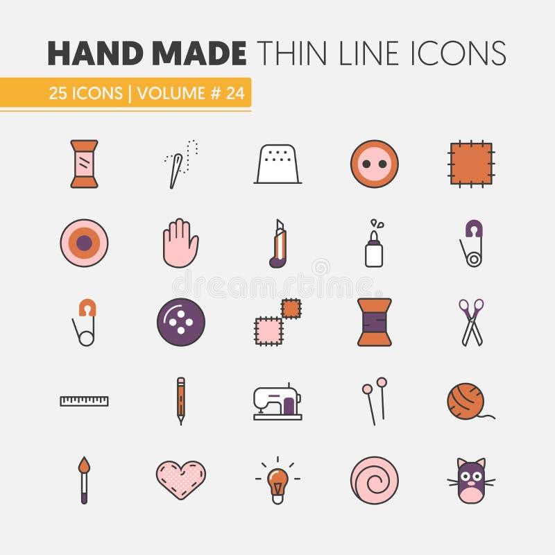 Costura feito à mão que Crafting a linha fina linear ícones ajustados com ferramentas e acessórios ilustração do vetor
