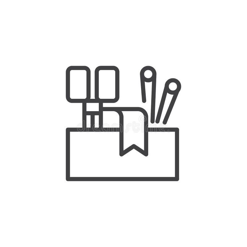A costura utiliza ferramentas o ícone do esboço ilustração royalty free