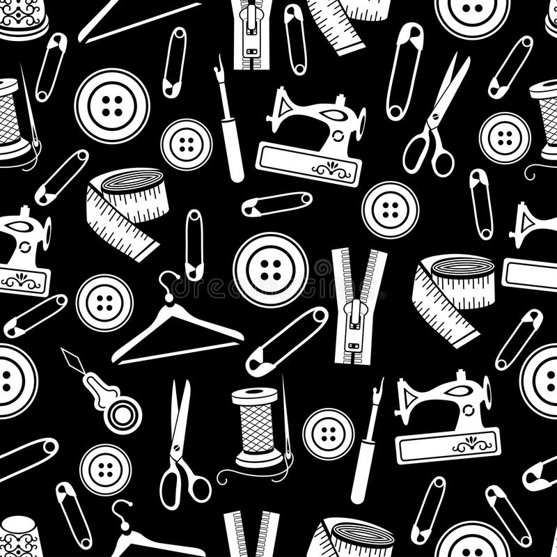 A costura utiliza ferramentas o teste padrão sem emenda, fundo do vetor Fontes brancas da costura no fundo preto Para o projeto d ilustração do vetor