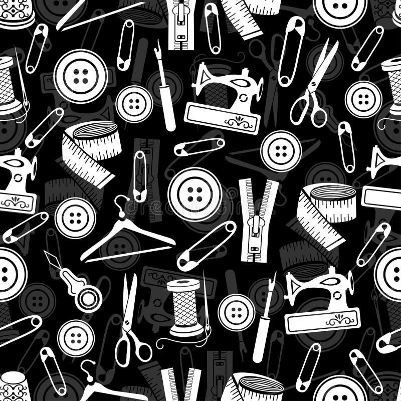 A costura utiliza ferramentas o teste padrão sem emenda, fundo do vetor Fontes brancas da costura no fundo preto Para o projeto d ilustração stock