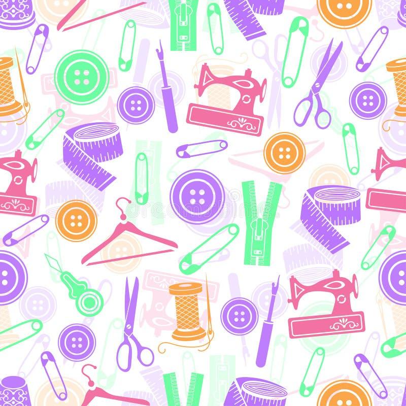 A costura utiliza ferramentas o teste padrão sem emenda, fundo do vetor Fontes coloridos da costura no fundo branco Para o projet ilustração royalty free