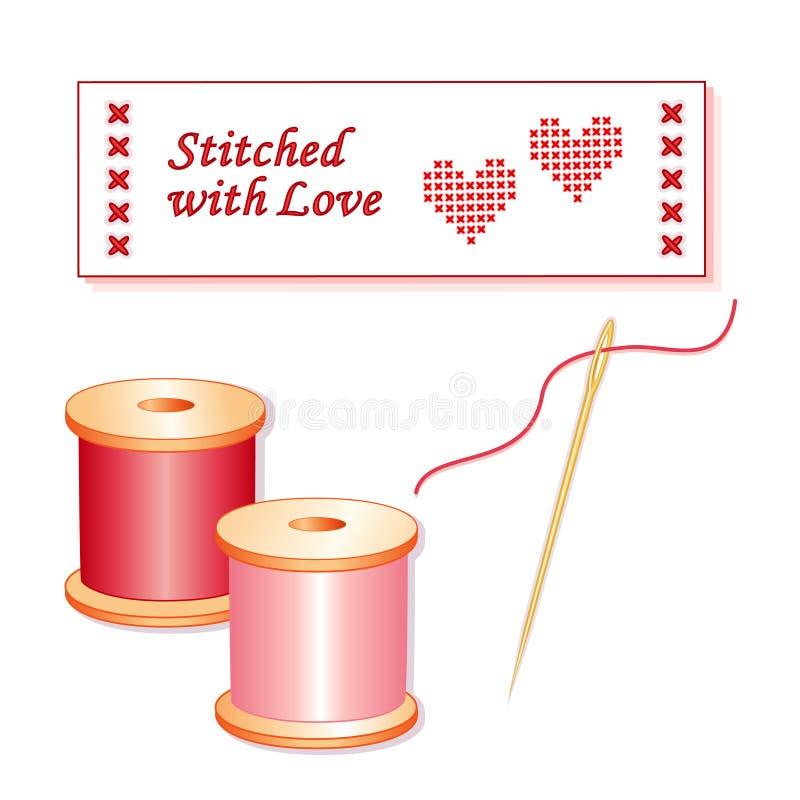 Costurado com etiqueta Sewing do amor ilustração royalty free