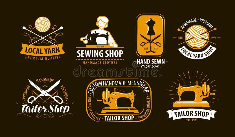 Costurando, costure o logotipo da loja ou etiquete-o Oficina, grupo de símbolo de confecção de malhas Ilustração do vetor ilustração do vetor