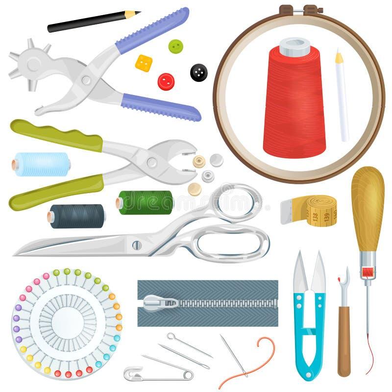 Costurando ferramentas do alfaiate do vetor costurar o projeto do carretel da tela das tesouras da linha da agulha do ofício para ilustração stock