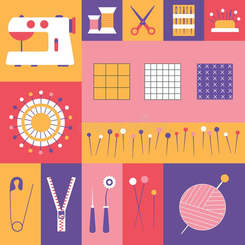 Costurando ferramentas e alfaiate Needlework Icons ilustração royalty free