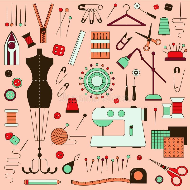 Costurando o equipamento e o alfaiate Needlework Elements ilustração royalty free