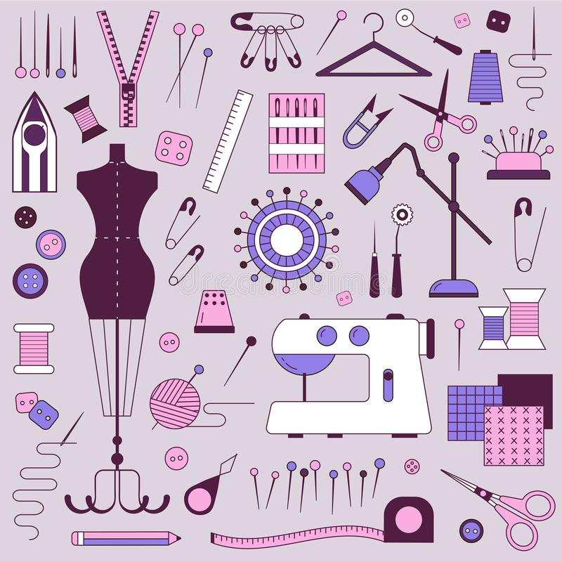 Costurando o equipamento e o alfaiate Needlework Elements ilustração stock