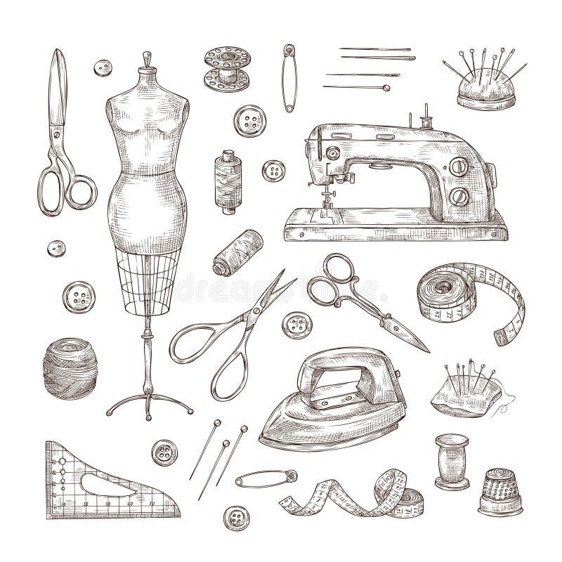 Costurando o esboço Mão da loja do alfaiate tirada costurando o vetor de costura da costureira do bordado da roupa do vintage do  ilustração do vetor