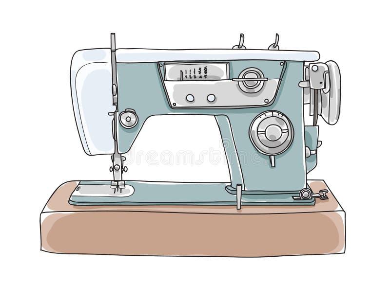 Costurando o vintage bonito da máquina retro entregue o illust tirado da arte do vetor ilustração stock