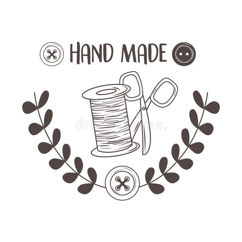 Costurar feito à mão com tubino e tesouras da linha ilustração stock