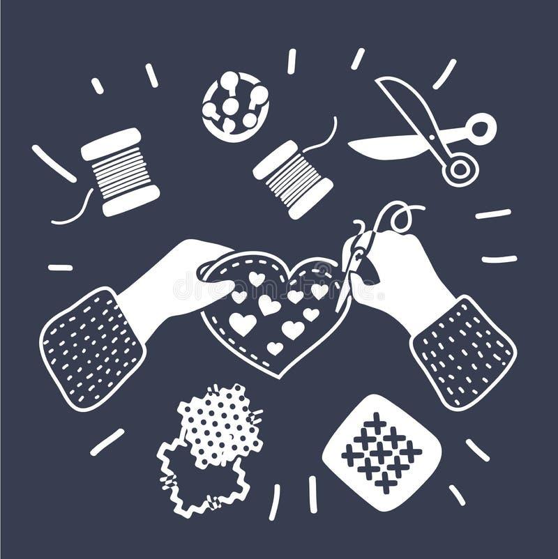 Costure a ilustração do vetor das mãos da equipe das lições do bordado do desenhador de moda da costureira ilustração royalty free