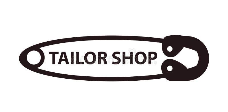 Costure o logotipo do pino da costura da loja isolado no fundo branco ilustração do vetor