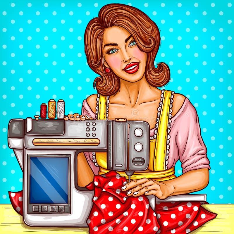 A costureira da mulher do pop art do vetor costura na máquina ilustração stock
