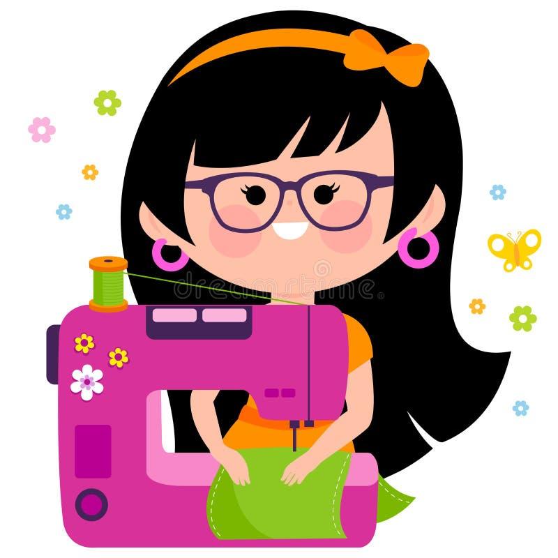 Costureira da mulher que usa sua máquina de costura ilustração royalty free