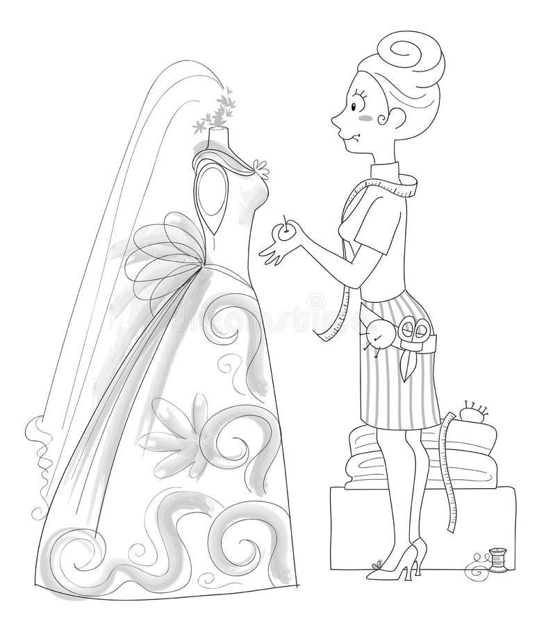 Costureira do casamento - bw ilustração do vetor