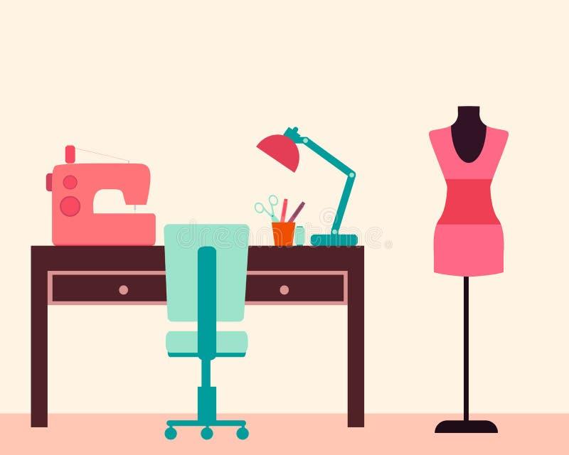Costurera del lugar de trabajo libre illustration