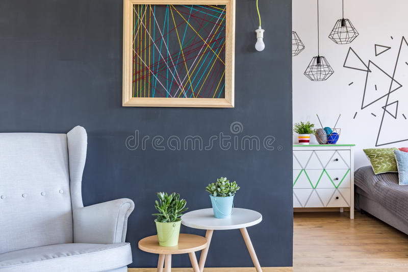 Download Cosy Armchair And Coffee Tables Stock Image   Image Of Bright,  Decor: 82191035
