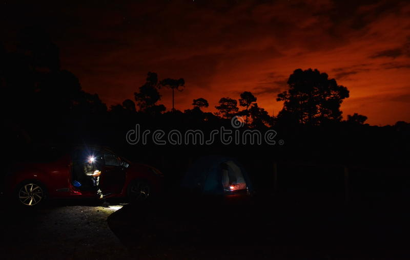 Cosy camping at dusk stock photography