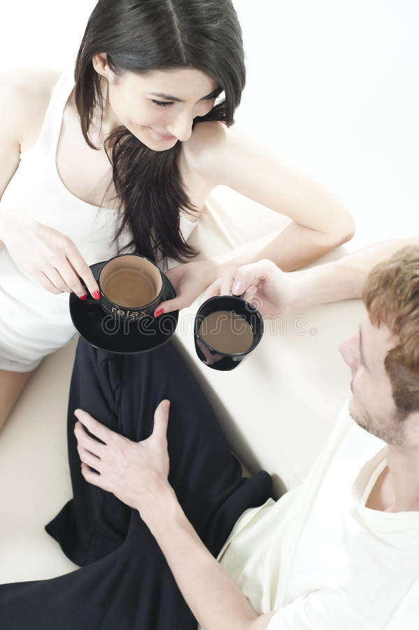 Cosy Coffee Time Of Two Teens Royalty Free Stock Photos