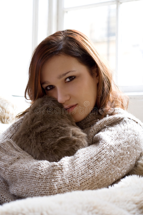 Cosy comfortable girl royalty free stock photography