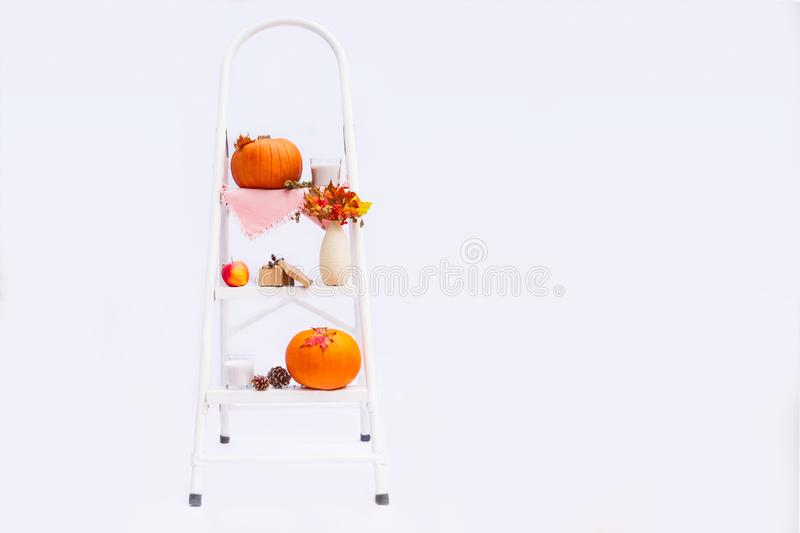 Cosy composition with natural decor of pumpkins, candles, fall leaves in vase, cones and nuts on the steps of rung ladder on white stock photo