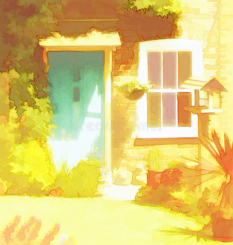 Cosy cottage. Front door bathed in sunlight stock illustration