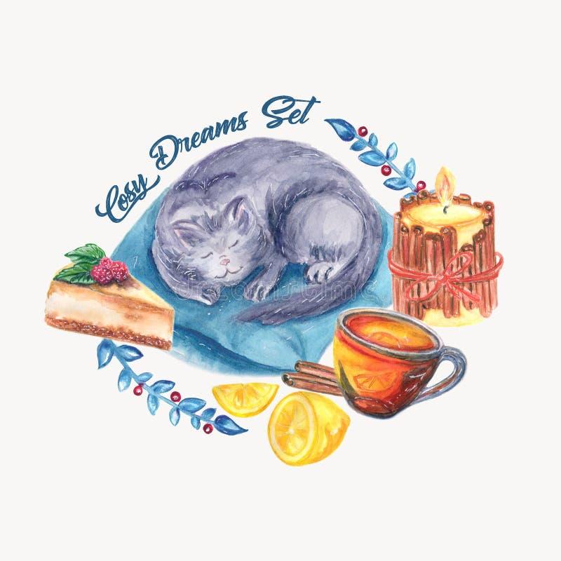 Cosy dreams watercolor set royalty free illustration