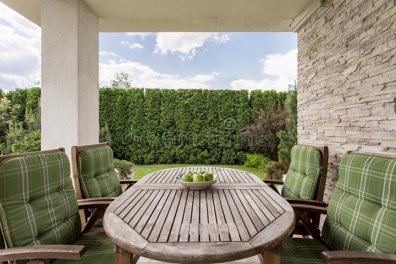 Cosy and elegant terrace for a large family stock photo