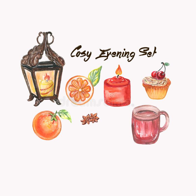 Cosy evening watercolor set. Set with hand painted watercolor cosy latern, red candle, cap, oranges, the spice star anise and cake. Cosy evening floral stock illustration