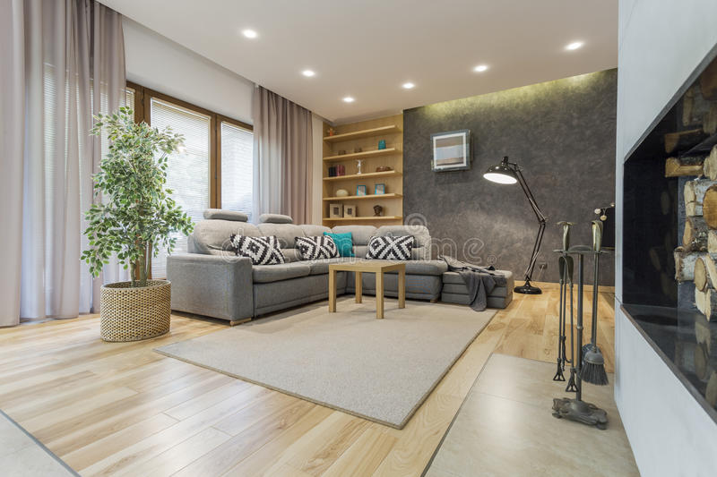 Cosy lounge room in shades of beige stock photo