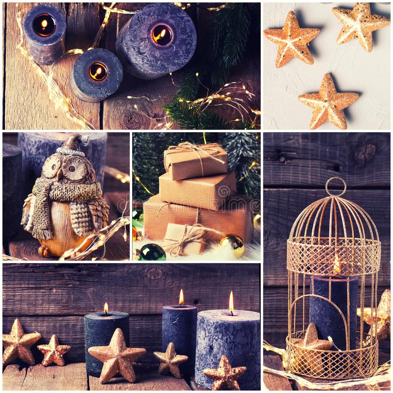 Cosy rustic winter holidays, Christmas, New Year collage. Collage from Christmas and New Year decoration. Golden cage,  black  burning candles, decorative stars royalty free stock images