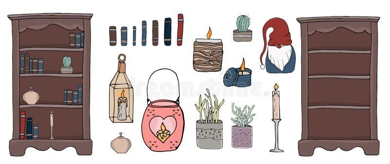 Cosy wektorowi ilustracyjni hygge elementy ilustracji