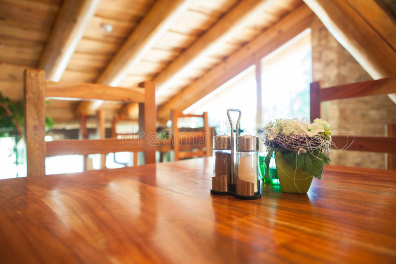 Cosy wooden restaurant. Mountain chalet royalty free stock image