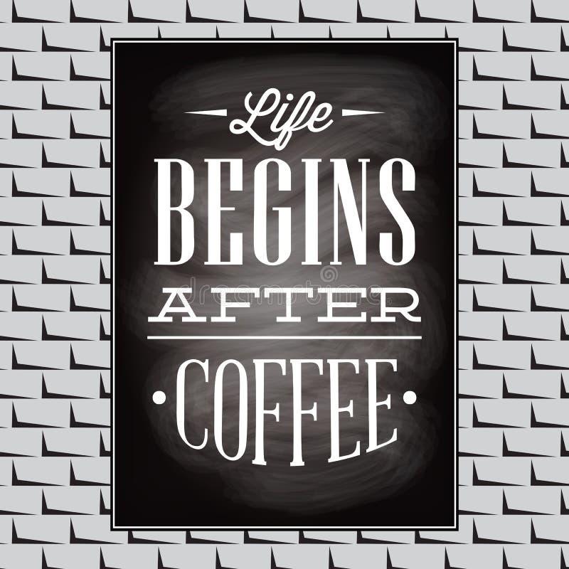 Cotação em um assunto do café na parede preta da placa e de tijolo ilustração do vetor