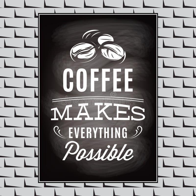 Cotação em um assunto do café na parede preta da placa e de tijolo ilustração royalty free