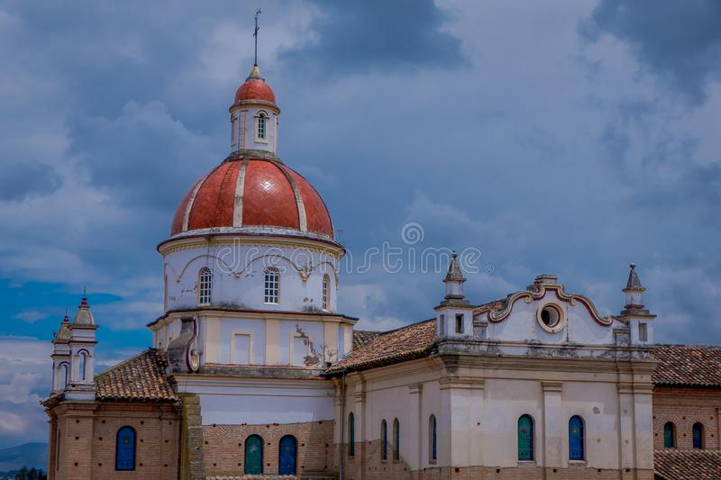 COTACACHI, ECUADOR, NOVEMBER 06, 2018: Beautiful outdoor view of Matrix Cathedral In Cotacachi Ecuador, a small village. Where live a lot of America retirees royalty free stock photos