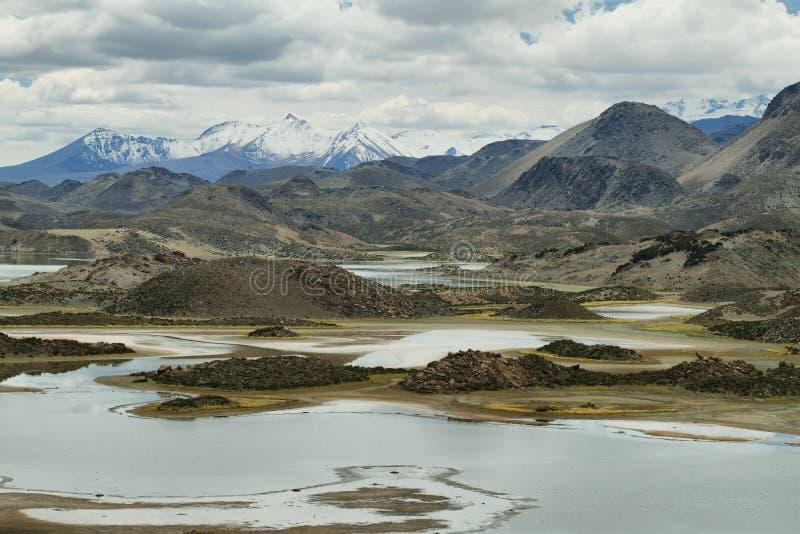 Cotacotani jeziora w Lauca parku narodowym zdjęcia stock