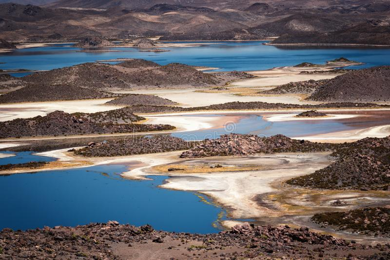 Cotacotani lagoons, multiple lagoons located in the commune of Putre, province of Parinacota, Lauca National Park, Chile. Cotacotani lagoons, multiple lagoons stock image