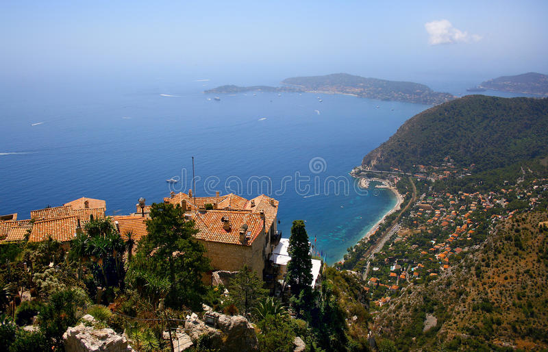 Cote d'Azur. Beautiful view of Cote d'Azur as seen from Èze, France royalty free stock photo
