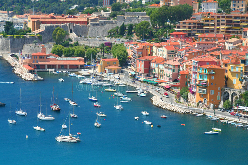 Cote d'Azur. Beautiful harbour of Villefranche-sur-mer in the Cote d'Azur in France stock photos
