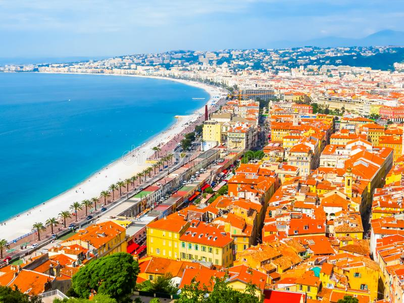 Cote d`Azur beachfront, Nice, France. Aerial view of Nice coastline. Cote d`Azur beachfront, Nice, France royalty free stock photos