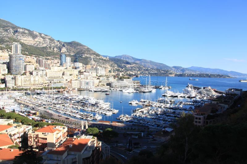 Monaco Port Port Hercules. Cote d`Azur.Blue Coast ,Port Hercules,Monaco.The photo was taken in the winter of 2017 royalty free stock photography