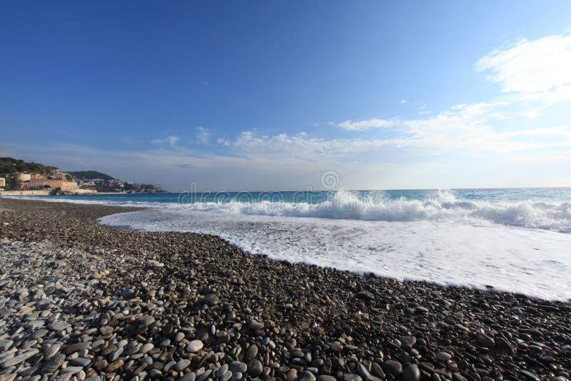 Cote d`Azur la Baie des Anges. Cote d`Azur, la Baie des Anges.Blue Coast of Nice, France.The photo was taken in the winter of 2017 stock photos