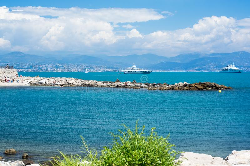 Cote d`Azur, sea and ships away. At sunny day royalty free stock photography