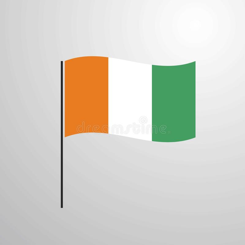 Cote d Ivoire / Ivory Coast waving Flag. This Vector EPS 10 illustration is best for print media, web design, application design user interface and royalty free illustration