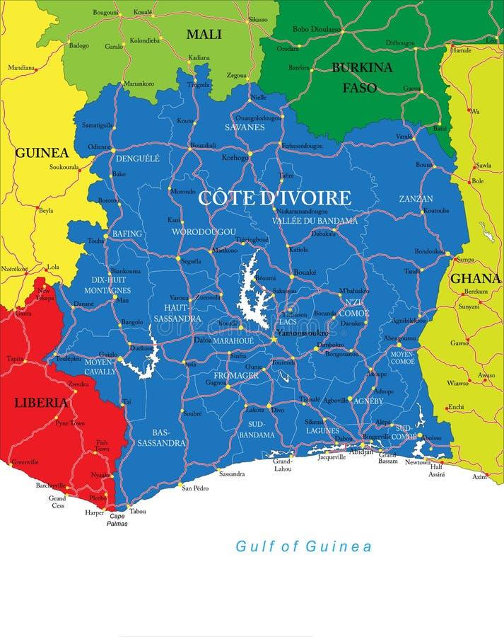 Cote d'Ivoire mapa