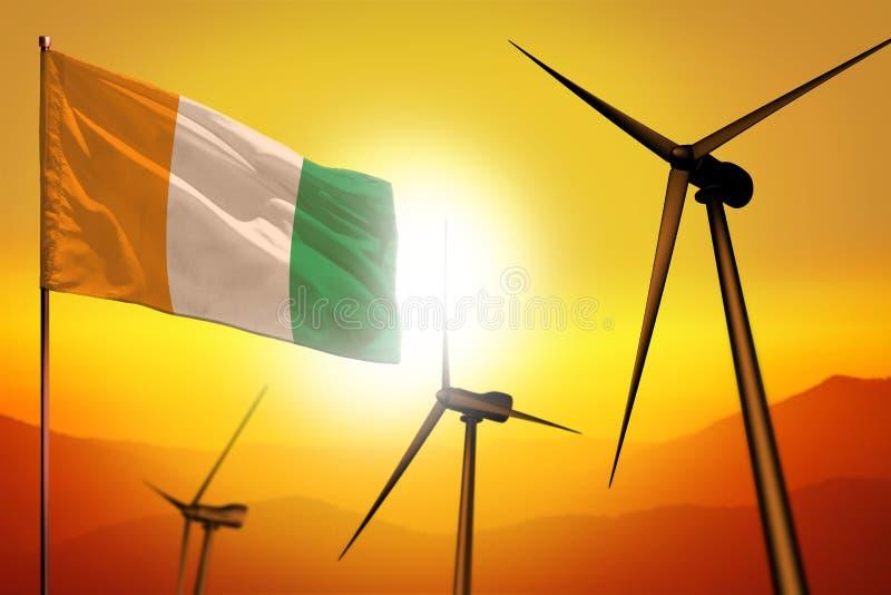 Cote d Ivoire wiatrowa energia, alternatywnej energii środowiska pojęcie z silnikami wiatrowymi i flaga na zmierzch przemysłowej  zdjęcia stock